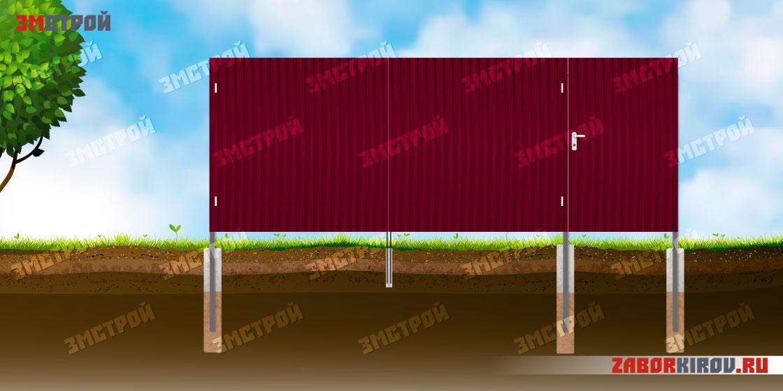 Забор-профнастил-ворота-калитка-лицевая