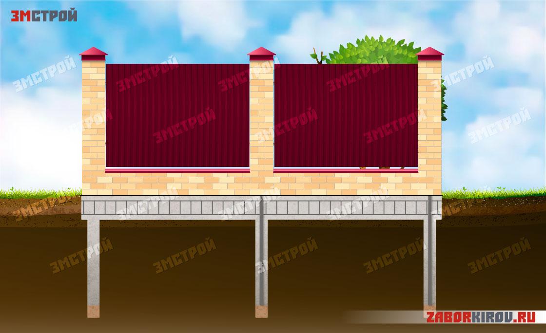 Кирпичный-забор-с-фундаментом-лицевая